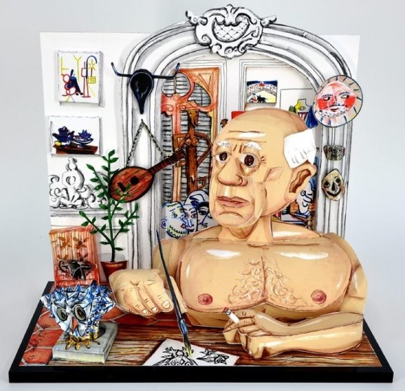 Picasso 3-D 1997 Sculpture by Red Grooms
