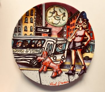 Moonstruck Porcelain Plate 1994 10 in Sculpture by Red Grooms