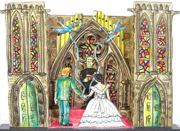 Lysiane and Red's Wedding Invitation 1987 3-D Limited Edition Print - Red Grooms