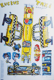 Ruckus Taxi 1986 Limited Edition Print - Red Grooms