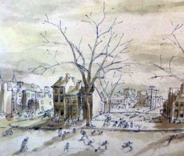 Baseball in Vacant Lot Watercolor 1934  8x19 Watercolor - George Grosz