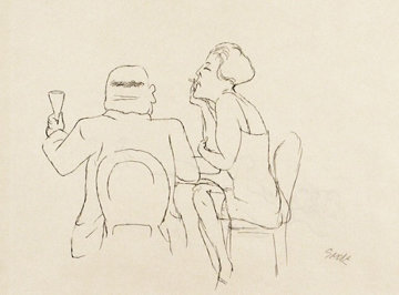 Man and Woman in Cafe Drawing 1925 15x20 Drawing - George Grosz