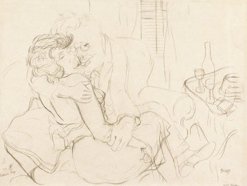 Lovers Drawing Drawing 1928  15x20 Drawing - George Grosz