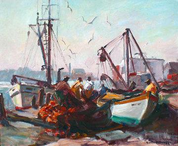 Untitled, Fishing Docks, Gloucester 1950 20x24 Original Painting by Emile Albert Gruppe