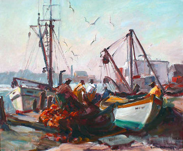 Untitled, Fishing Docks, Gloucester 1950 20x24 Original Painting - Emile Albert Gruppe