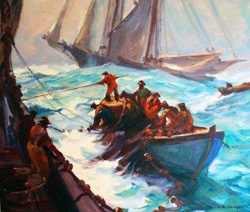 On Fish 1930 33x38 Original Painting - Emile Albert Gruppe