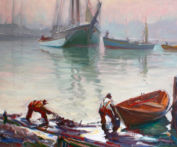 Untitled Boat Yard 1940 28x32 Original Painting by Emile Albert Gruppe