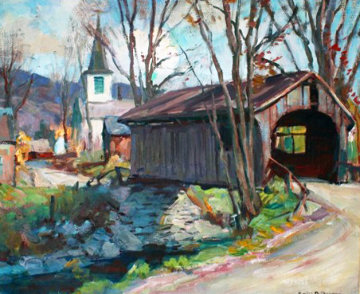 Covered Bridge, Vermont 1940 26x30 Original Painting - Emile Albert Gruppe
