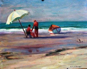 Beach Umbrella 1952 16x20 Original Painting - Emile Albert Gruppe