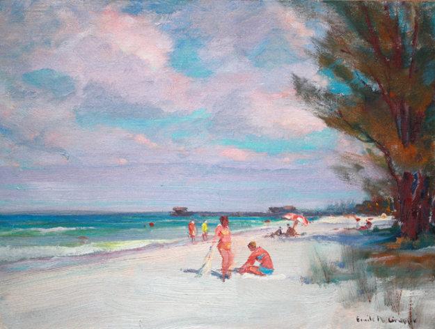 Beach in Naples 1950 12x16 Original Painting by Emile Albert Gruppe