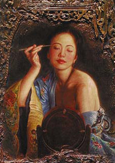 Painting Eyebrow Unique 33x27 Embellished Works on Paper (not prints) by George Tsui