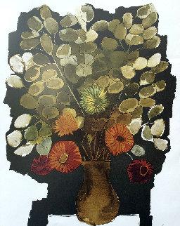 Flores Sobre Fondo Negro 1983 Limited Edition Print - Oswaldo Guayasamin