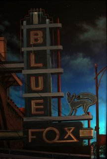 Blue Fox At Night 2001 57x40 Original Painting by James Gucwa