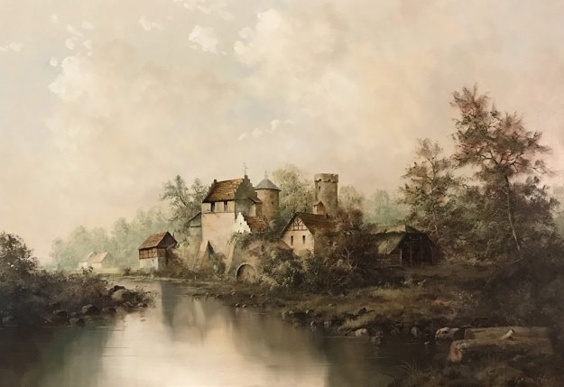Old Country Lake 1979 30x42 Original Painting by Eleonore Guinther