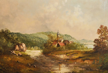 Old World Landscape 29x52 Original Painting by Eleonore Guinther