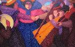 Los Musicos 37x71 Original Painting - Ernesto Gutierrez