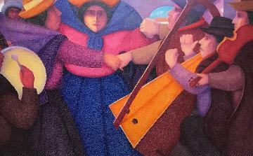 Los Musicos 37x71 Super Huge Original Painting - Ernesto Gutierrez