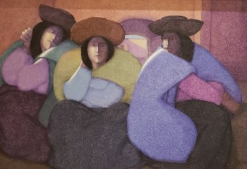 Muteres De Mi Pueblo 1986 42x62 Original Painting - Ernesto Gutierrez