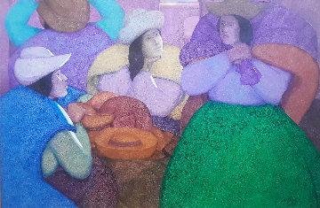 Cholas Vendedoras De Sombreros 1985 47x66 Original Painting - Ernesto Gutierrez