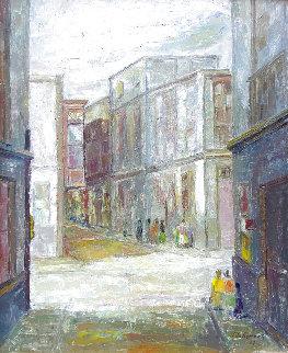 Untitled Painting (Street Scene) 1967 34x27 Huge Original Painting - Ernesto Gutierrez
