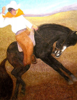 El Caballo (The Cowboy) 2010 56x46 Original Painting - Ernesto Gutierrez