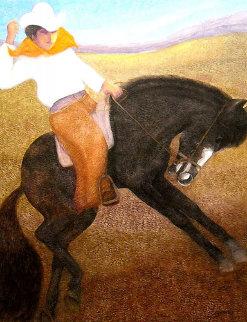 El Caballo (The Cowboy) 2010 56x46 Super Huge Original Painting - Ernesto Gutierrez
