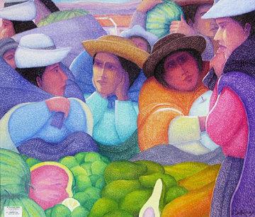 Market 2010 35x40 Original Painting - Ernesto Gutierrez