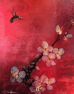 Crimson Blossom 2012 28x34 Original Painting - Patrick Guyton