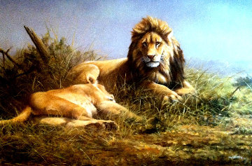Lion and Lioness 1995 33x47 Super Huge Original Painting - Grant Hacking