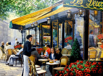 Cafe Les Deux Maggot, Paris 28x33 Original Painting - Deborah Haeffele