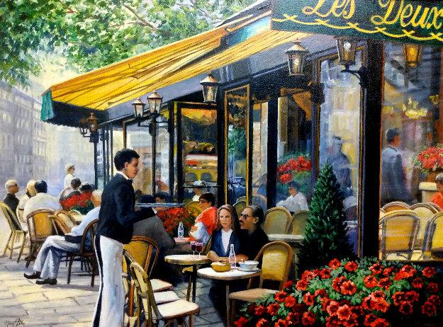 Cafe Les Deux Maggot, Paris 28x33 Original Painting by Deborah Haeffele