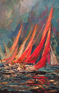 Regatta, Set of 3 Paintings 1990 26x38 Original Painting by Kerry Hallam