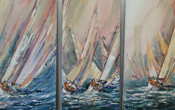 Sail Boat Race 1985 48x24 Original Painting by Kerry Hallam