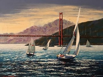 Golden Gate Sunset, San Francisco  2001 Embellished Limited Edition Print - Kerry Hallam