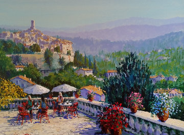 Terrace in the Midi 38x48 Original Painting by Kerry Hallam