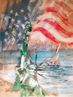 Liberty 40x33 Nautical Chart Original Painting by Kerry Hallam