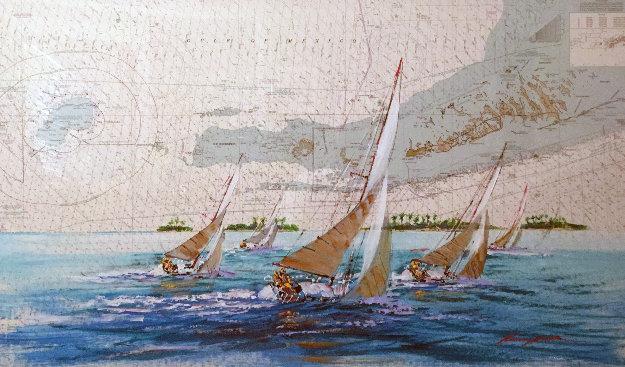 Sombrero Key Nautical Chart 38x56 Florida Original Painting by Kerry Hallam