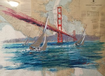 Entrance to San Francisco Bay Chart 2004 41x52 Original Painting by Kerry Hallam