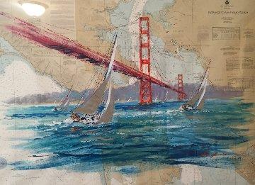 Entrance to San Francisco Bay Chart 2004 41x52 Original Painting by Kerry Hallam