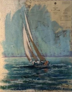 Tampa Bay Nautical Charg 2001 52x45 Works on Paper (not prints) - Kerry Hallam