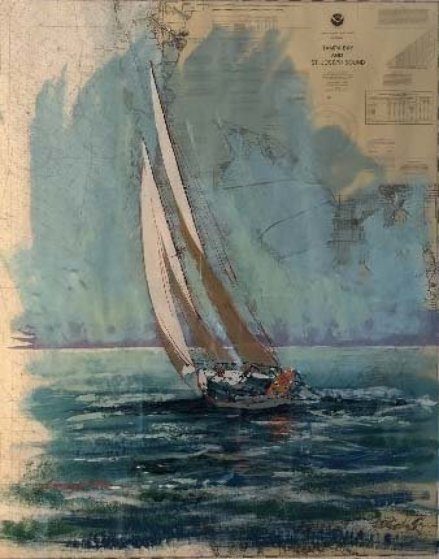 Tampa Bay Nautical Chart 2001 52x45 Works on Paper (not prints) by Kerry Hallam