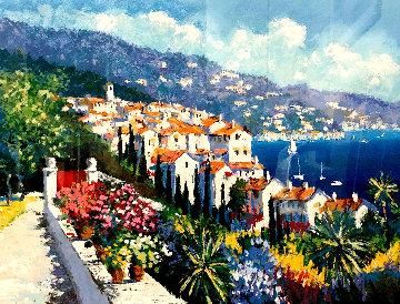 Mediterranean Suite: Eze Village and Mediterranean View 1993 Limited Edition Print - Kerry Hallam
