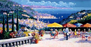 Cap D'azur 1996 Heavily Artist Embellished Limited Edition Print by Kerry Hallam