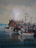 Untitled Harbor 16x12 Original Painting by Kerry Hallam - 0
