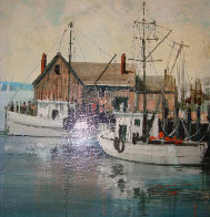 Untitled Harbor 16x12 Original Painting by Kerry Hallam - 1