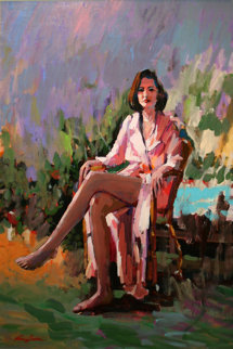 Untitled Seated Woman 36x24 Original Painting by Kerry Hallam