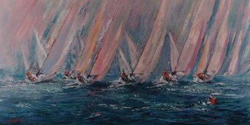 Pastel Regatta 1998 48x72 Original Painting - Kerry Hallam