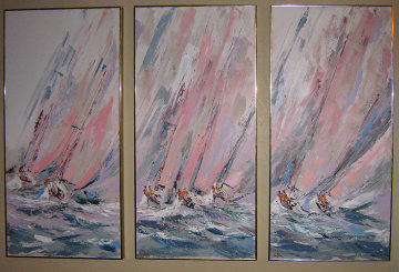 Boat Races Tryptich 1985 48x72 (Early) Original Painting by Kerry Hallam