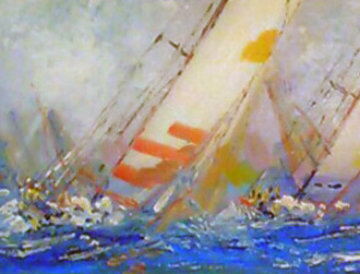 Untitled (Sailboats) 1998 13x40 Original Painting by Kerry Hallam