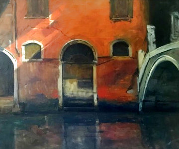 Venetian Street Scene 1963 28x24 Original Painting by Albert Handell